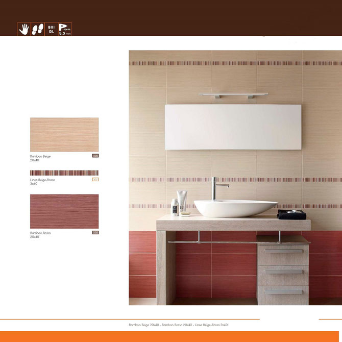 bamboo beige-rosso 20x40