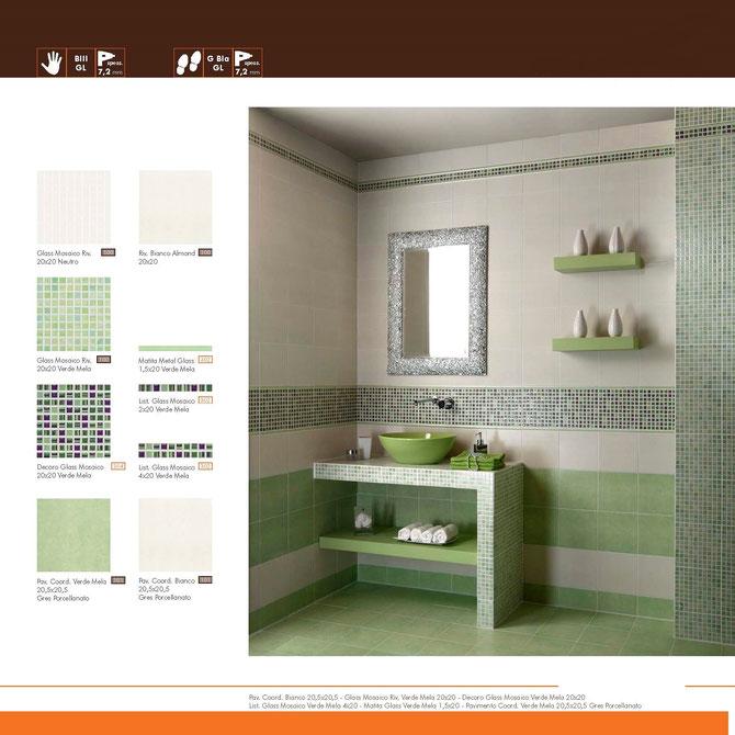 Glass mosaico verde mela 20x20