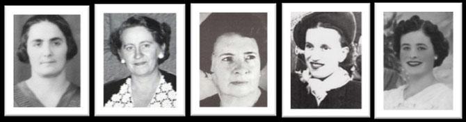Οι παρελθούσες πρόεδροι του Συλλόγου, από αριστερά, Καθολική Αναστασά, Φρόσω Στούππου, Έλλη Βιδάλη, Λούλα Γαλάτη, Μαίρη Λούκα