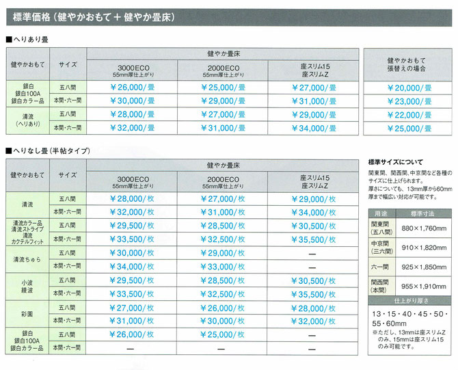 大建カタログ畳の価格表