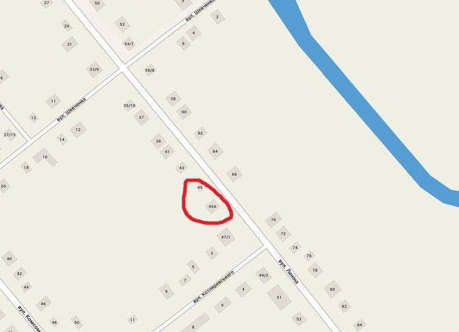місце з норою на карті селища