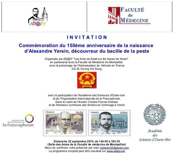 Invitation à la commemoration du 150 ème anniversaire de la naissance d'Alexandre Yersin