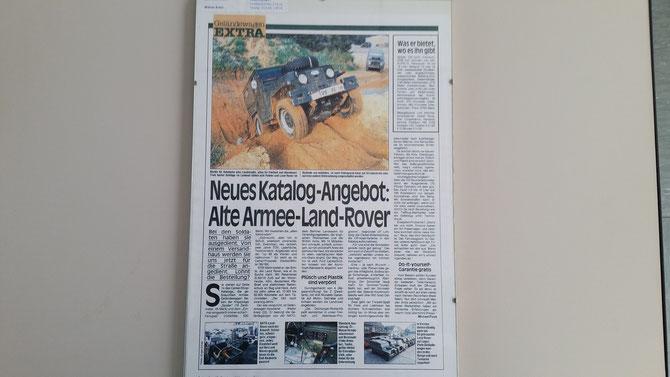 Ausschnitt der Zeitschrift Autobild zu den Land Rovern die über den Camel-Shop vertrieben wurden