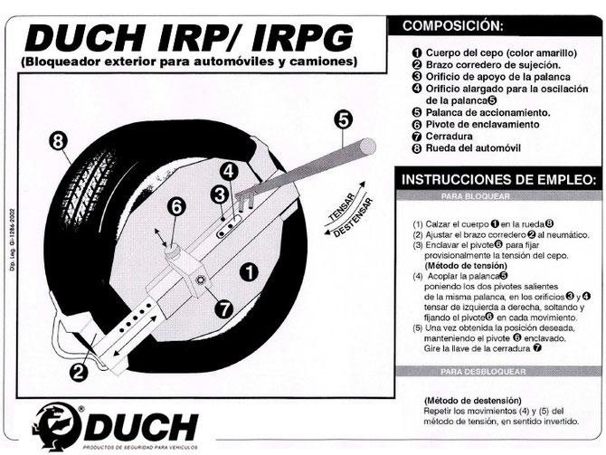 Instrucciones Cepo Duch (Bloqueador exterior plegable para vehículos)