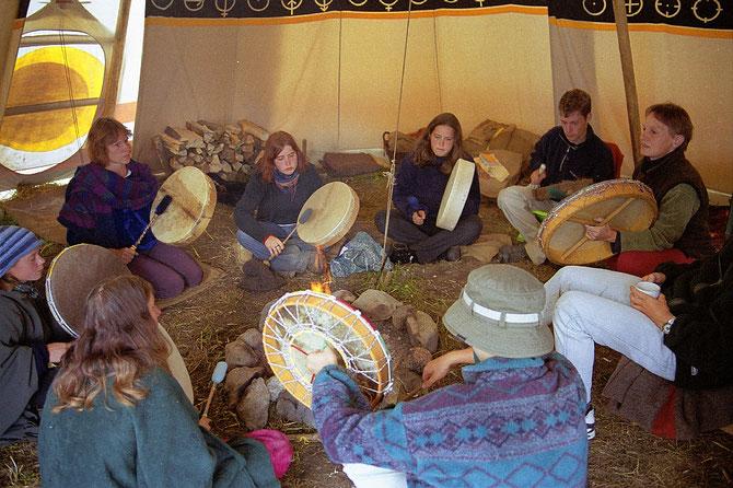 Trommel-Gruppe im Tipilager-CH