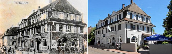 Hebelhof früher und jetzt nach der Renovierung. Klick zum Vergrössern!