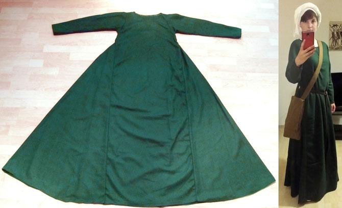 grünes Oberkleid, Wollstoff
