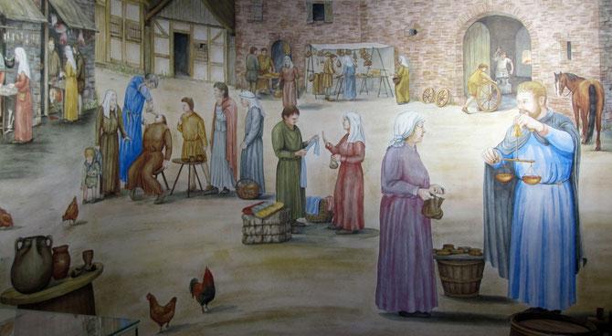 Stadtleben im Mittelalter, Rekonstruktionszeichnung im Museum im Schloss Corvey, Höxter