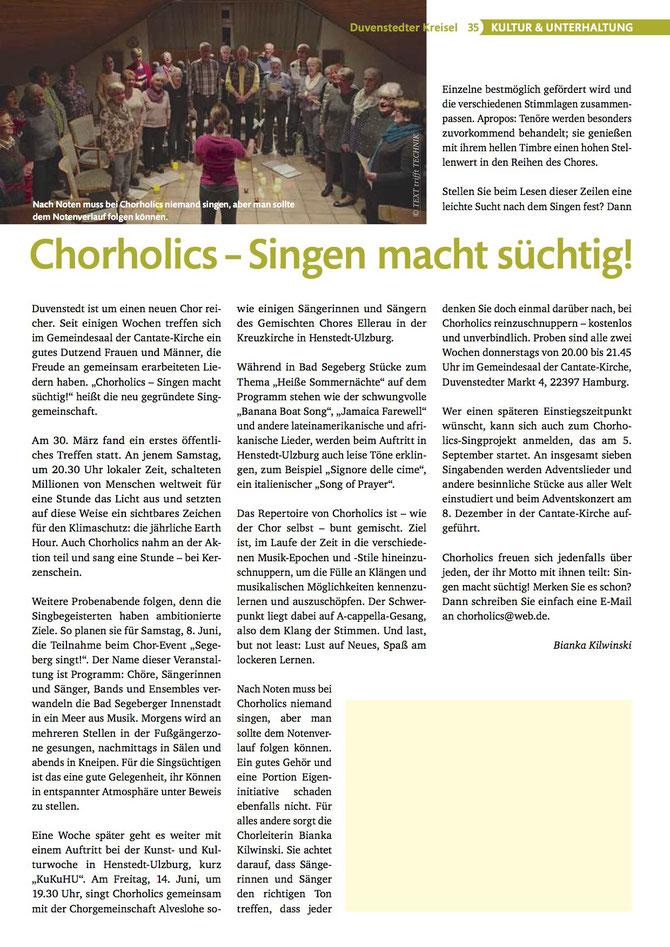 Chorholics in den Medien – Duvenstedter Kreisel Mai/Juni 2o19