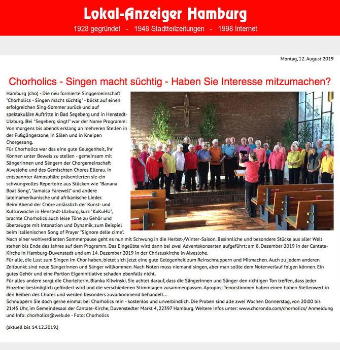 Chorholics in den Medien – Lokal-Anzeiger Hamburg 12.o8.2o19