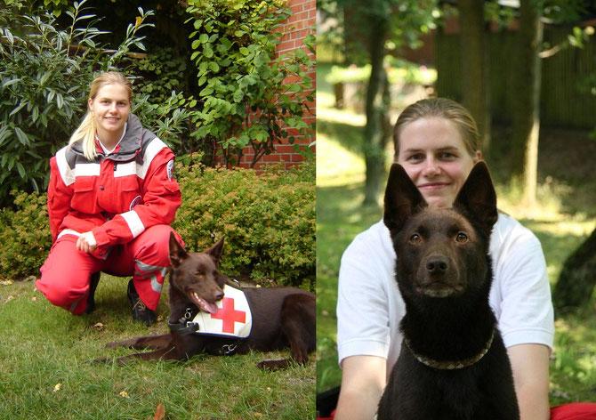 Baiko und ich am Anfang unserer Rettungshundekarriere.