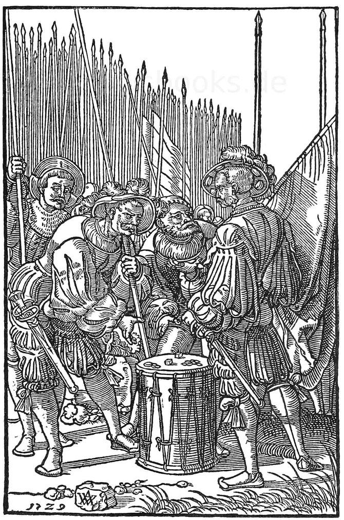 Spielende Landsknechte des 16. Jahrhunderts. Glückspiel.