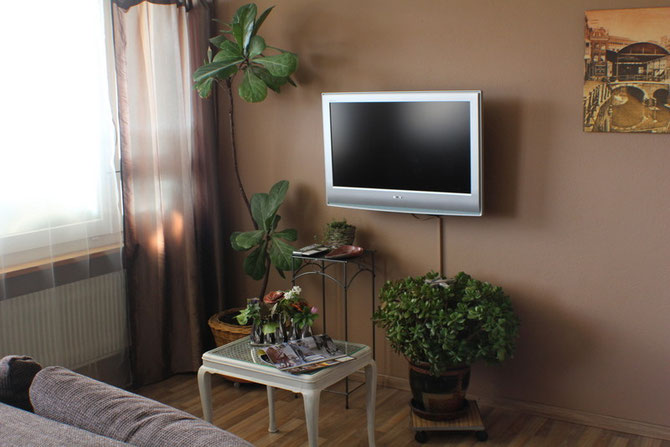 Sitzecke mit Fernseher mit Swisscom TV und Internet