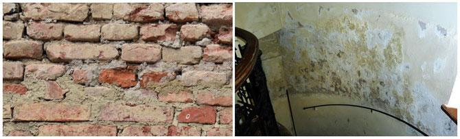 Auswirkungen von feuchten Mauern: Bereits angegriffenes Ziegelmauerwerk (links), Salzausblühungen (rechts)