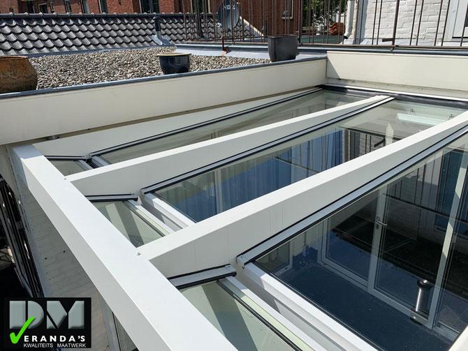 Haarlem aluxe Ultraline strakke rechte veranda met glasdak