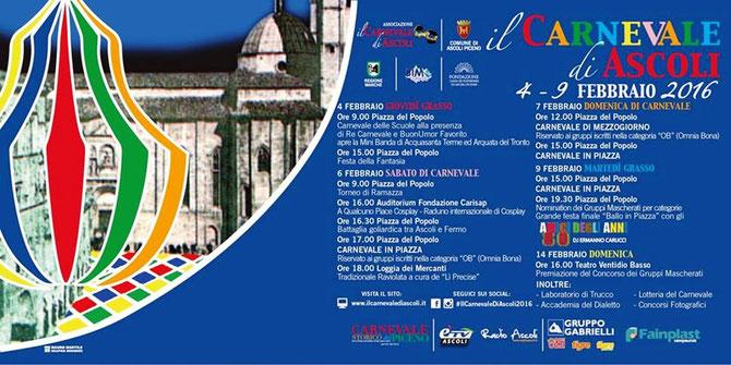 Programma ufficiale dell'edizione 2016 del Carnevale storico di Ascoli Piceno.