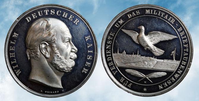 """silberne Medaille für """"Verdienste um das Militair-Brieftaubenwesen"""""""