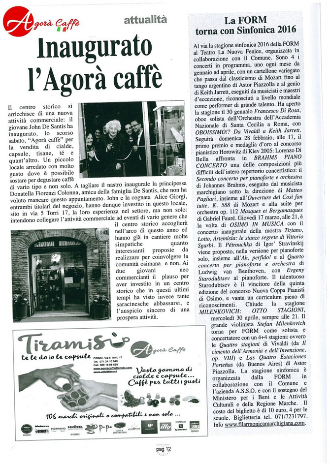 """Dal Giornale """"La Meridiana di Osimo"""""""