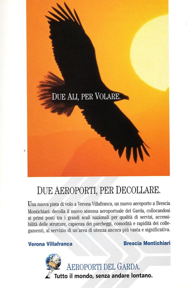 Locandina del 1999 che propaganda l'apertura di Montichiari ed i nuovi investimenti al Catullo