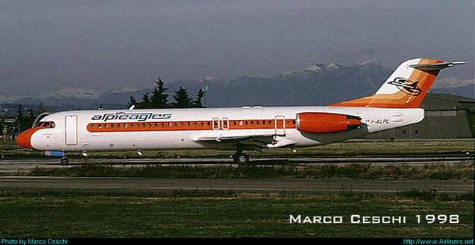 Nel 1996 debutta sulla scena nazionale Alpi Eagles con due Fokker 100, I-ALPL e I.ALPK. Gli aeromobili entrano in servizio con la compagnia nell'aprile del 1996 e vi rimarranno fino al 1999, quando passeranno ad Air Dolomiti