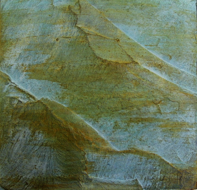 """""""LANDSCHAP """" BRONS GEPATINEERD    (25x25 cm )"""