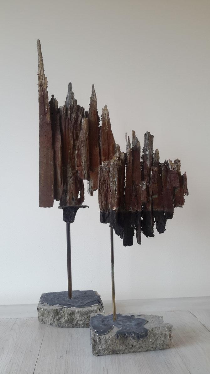 """""""De Deelen 2 """"  brons gepatineerd plus lood (70 cm hoog )"""