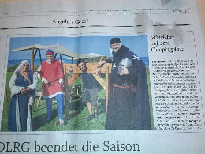 """Der """"4. kleiner Mittelaltermarkt in Norgaardholz"""" in der """"Flensburger Tageblatt"""" vom 25. August 2015"""
