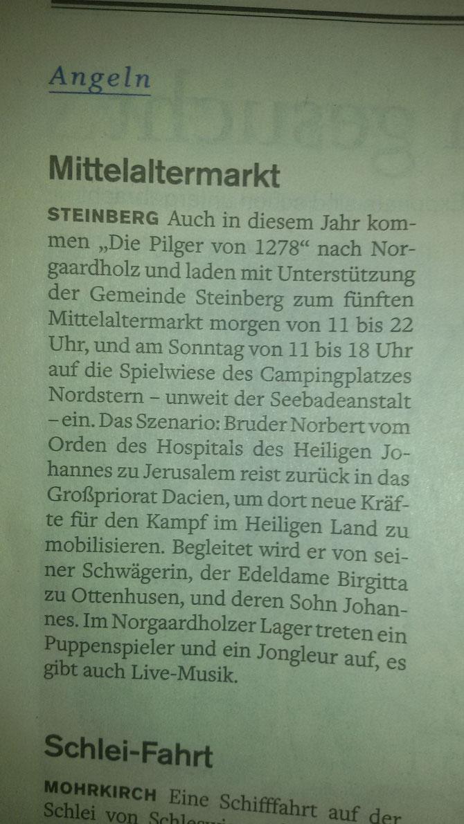 """Der """"5. kleiner Mittelaltermarkt in Norgaardholz"""" in der """"Flensburger Tageblatt"""" vom 12. August 2016"""