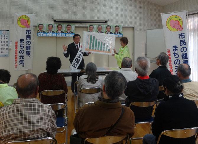 花鶴2丁目3区公民館での個人演説会