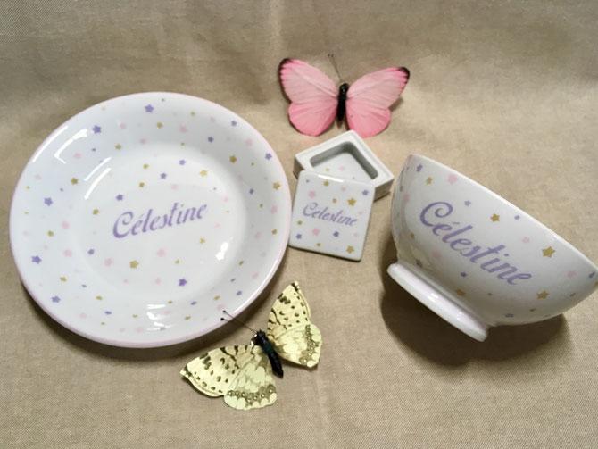 Set vaisselle personnalisée pour enfant en porcelaine