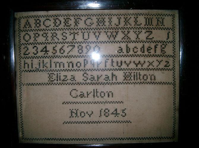 Eliza Sarah Hilton's sampler