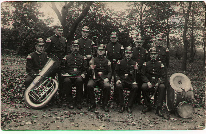 Ernst is the tuba player in this photo of a band.