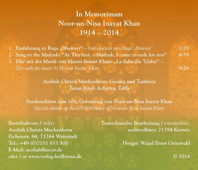In Memoriam Noor-un-Nisa Inayat Khan * 1914 - 2014