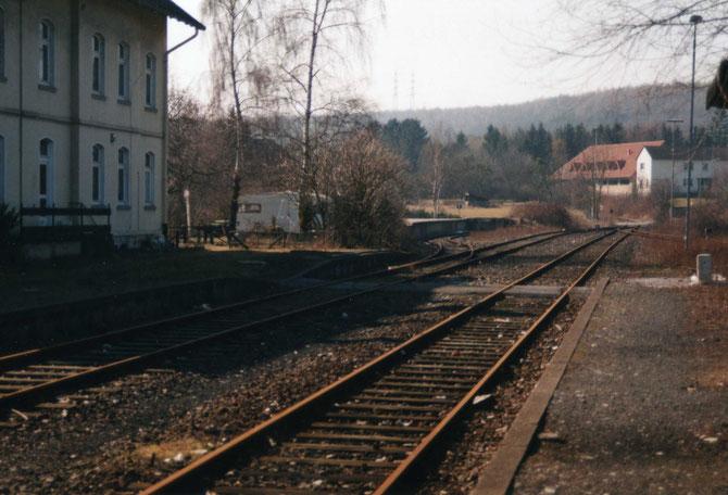 Bahnhof Büren/ Westf. ,  Westausfahrt in Richtung Weine - Brilon Wald       Foto:K.Maaser