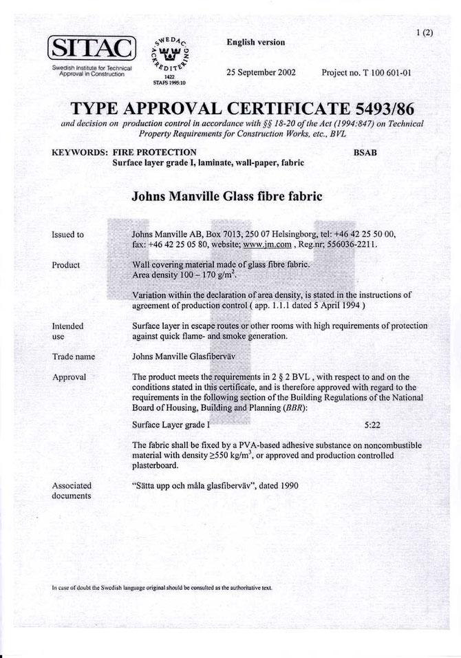 Certificado contra el fuego