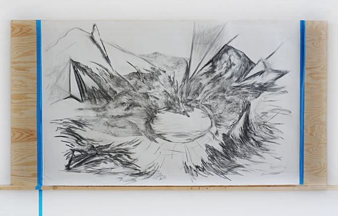 Paesaggio Interrotto 2017, graphite and charcoal on paper mounted on wooden board, 150 x 260 cm, Nordisk Kunstnarsenter, Dale I Sunnfjord (NO)