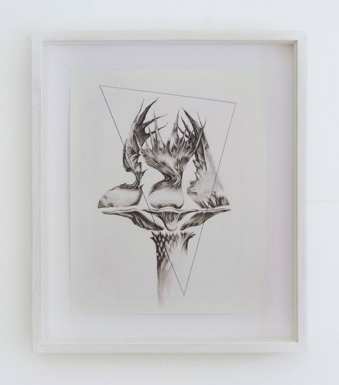 Forme remote #2, graphite, ink and pastel on paper with frame, cm 37 x 43, 2015