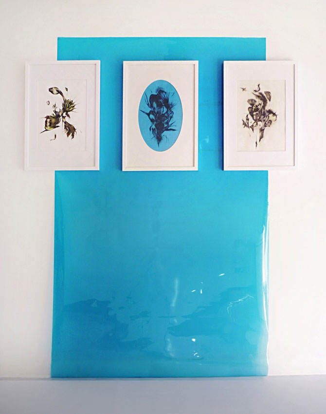 Filter 3, triptych, graphite and tempera a gouache on paper, mounted on blue gel sheet, cm 160 x 200, 2015