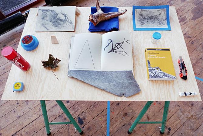 Workbench 2017, instruments, natural elements and drawings on wooden board, Nordisk Kunstnarsenter, Dale I Sunnfjord (NO)