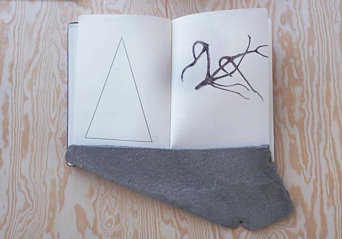 Enunciato, 2017, Moleskine and stone on wood, Nordisk Kunstnarsenter, Dale I Sunnfjord (NO)