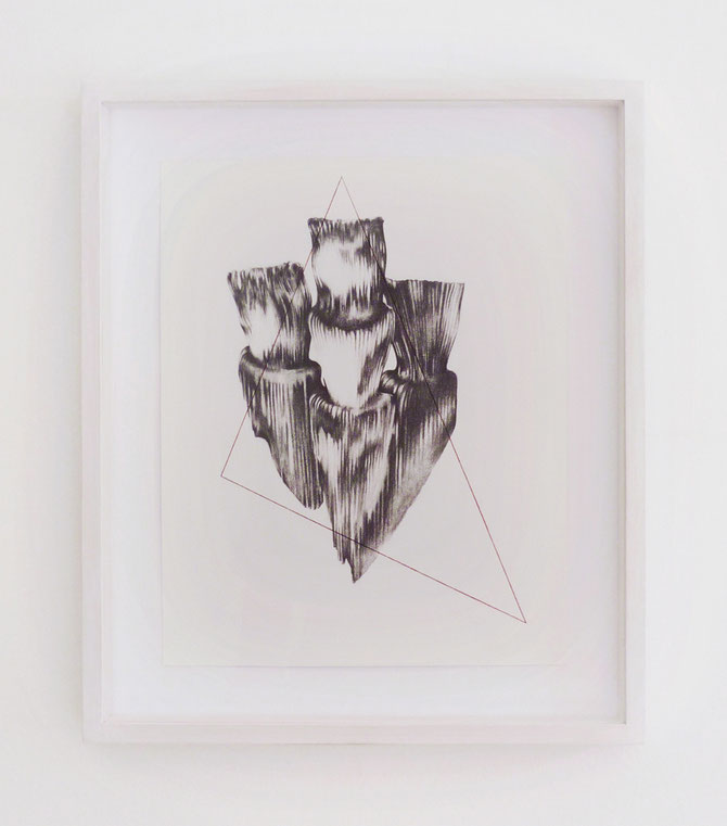 Forme remote #1, graphite, ink and pastel on paper with frame, cm 37 x 43, 2015