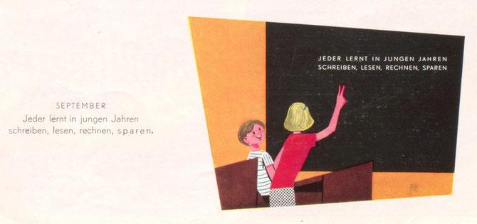 Schaufenster der Sparkassenfiliale. Jeder lernt in jungen Jahren schreiben, lesen, rechnen, sparen. (Blick in ein Klassenzimmer) (Plakat (Aufsteller der Sparkasse 1960)