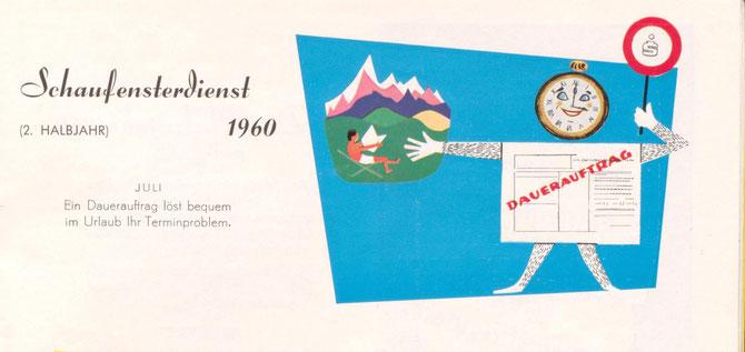 Schaufenster Sparkasse 1960. Ein Dauerauftrag löst bequem im Urlaub Ihr Terminproblem.(Aufsteller)