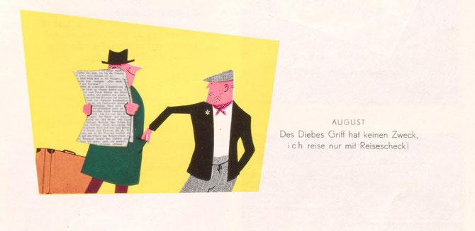 Schaufenster Sparkasse 1960. Des Diebes Griff hat einen Zweck, ich reise nur mit Reisescheck! (Taschendieb). Plakat (Aufsteller der Sparkasse).