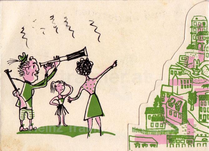 Rudolf Rath schaut durch das Fernrohr zur neuen Wohngegend. Umzugskarte von Heinz Traimer um 1957.