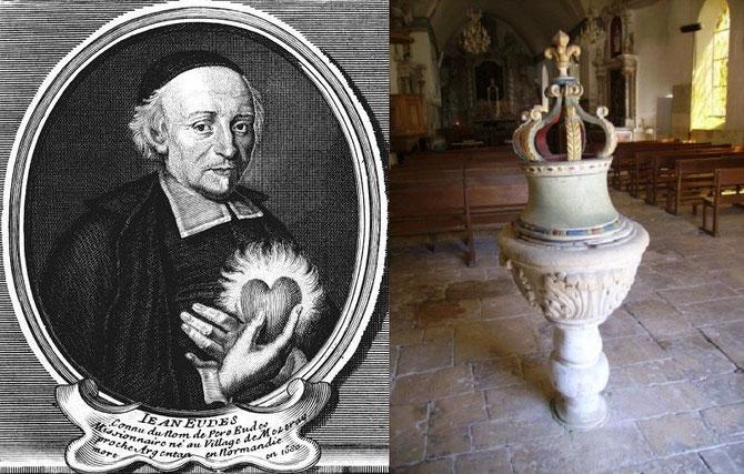 Saint Jean Eudes et les fonts baptismaux de l'église de Ri où il fut baptisé