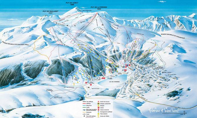 plan des pistes de ski de descente