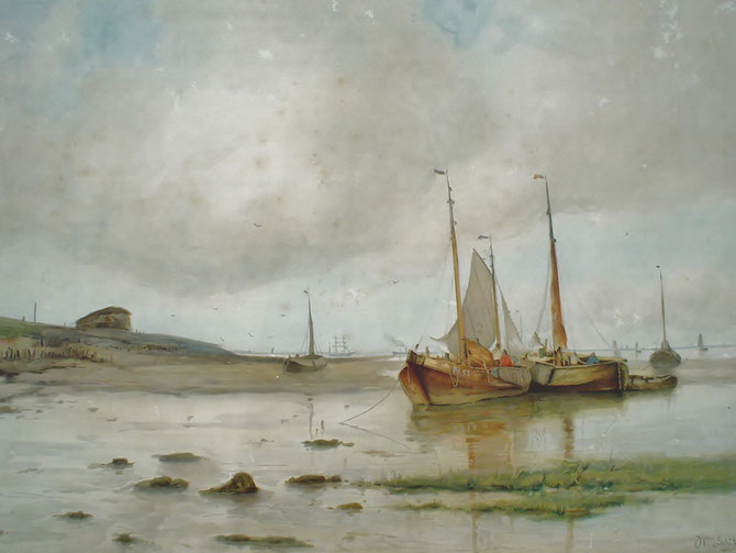 W.J. Schutz  ( Schütz ) schilderij  steendruk.