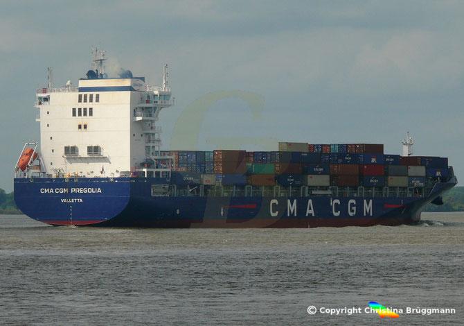 Container-Feederschiff CMA CGM PREGOLIA,  Elbe 10.09.2018