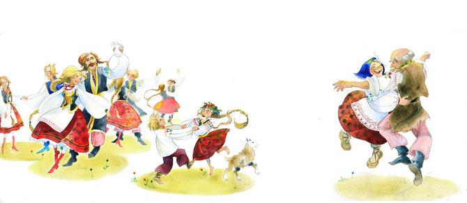les villageois dansent pour fêter la mort du dragon-clémence meynet-illustration